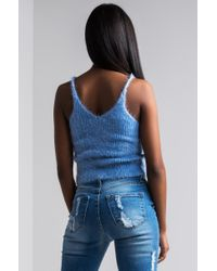 Akira - Blue The One You Need Fuzzy Crop Top - Lyst