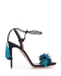 Aquazzura | Black And Blue Suede 'wild Thing 105' Sandals | Lyst