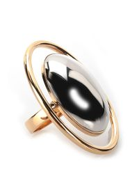 Saint Laurent | Metallic Silver And Golden Plated Ring | Lyst