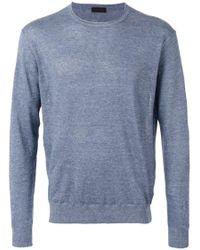Z Zegna | Blue - Crewneck Sweater - Men - Cotton/linen/flax - S for Men | Lyst
