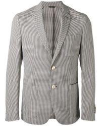 Fendi | Blue And Beige Pied De Poule Jacket for Men | Lyst