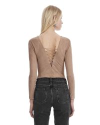 T By Alexander Wang - Natural Stretch Faux Suede Long Sleeve Lace-up Bodysuit - Lyst