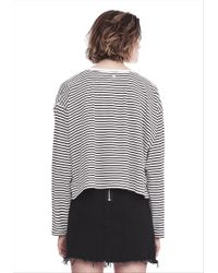 T By Alexander Wang | White Striped Long Sleeve Drop Shoulder Tee | Lyst