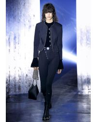 Alexander Wang - Black Cropped Peplum Jacket With Ball Chain Trim - Lyst