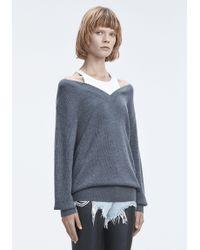 T By Alexander Wang - Gray Bi-layer Knit Sweater - Lyst