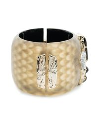 Alexis Bittar - Metallic Wide Lucite Hinge Bracelet With Rocky Stone And Pave Detail You Might Also Like - Lyst