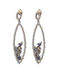 Alexis Bittar | Multicolor Crystal Encrusted Gemstone Cluster Dangling Post Earring With Spike Accent You Might Also Like | Lyst