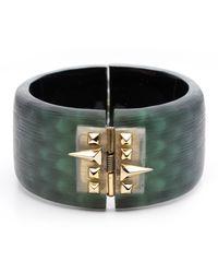 Alexis Bittar - Green Golden Studded Hinge Bracelet - Lyst