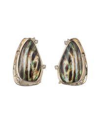 Alexis Bittar - Multicolor Wood Grain Button Clip Earring - Lyst