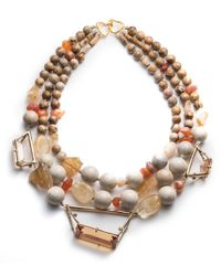 Alexis Bittar - Multicolor Triple Strand Geometric Beaded Bib Necklace - Lyst