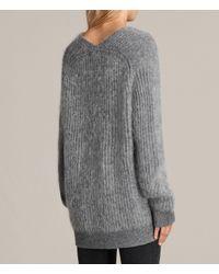 AllSaints - Gray Ade V-neck Jumper - Lyst