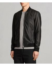 AllSaints - Black Mower Leather Bomber Jacket for Men - Lyst