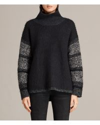 AllSaints - Black Keats Funnel Neck Sweater - Lyst