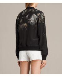 AllSaints | Black Harlow Neluwa Silk Bomber Jacket | Lyst