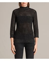 AllSaints | Black Haze Metallic Jumper | Lyst
