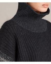 AllSaints - Black Keats Funnel Neck Sweater - Lyst