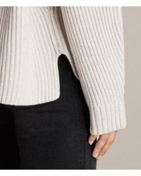 AllSaints - White Faye Crew Neck Sweater - Lyst