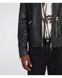 AllSaints - Black Kopen Leather Jacket for Men - Lyst