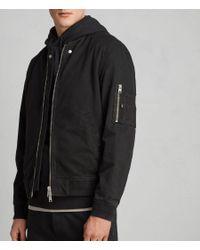 AllSaints Satta Bomber Jacket in Black for Men - Lyst