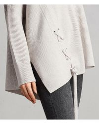 AllSaints - White Able Laced Sweater - Lyst