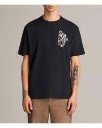 AllSaints - Black Catrabbit Crew T-shirt for Men - Lyst