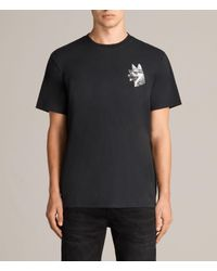 AllSaints - Black Alsace Switch Crew T-shirt for Men - Lyst