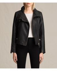 AllSaints | Black Bales Leather Biker Jacket | Lyst