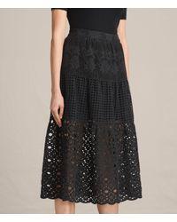 AllSaints - Black Janey Tier Broderie Skirt - Lyst