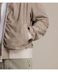 AllSaints - Natural Ari Suede Bomber Jacket - Lyst