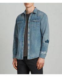 AllSaints - Blue Ilex Shirt for Men - Lyst