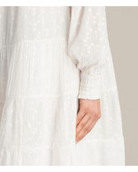 AllSaints - White Abelie Embroidered Dress - Lyst