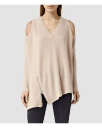 AllSaints | Pink Able Open Shoulder Sweater Usa Usa | Lyst