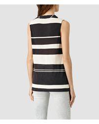 AllSaints - White Amei Stripe Top Usa Usa - Lyst