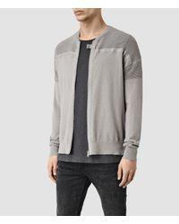 AllSaints - Gray Arden Zip Through Jumper for Men - Lyst