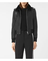 AllSaints   Black Carpen Leather Bomber Jacket Usa Usa   Lyst