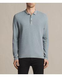 AllSaints   Blue Clash Long Sleeve Polo Shirt for Men   Lyst