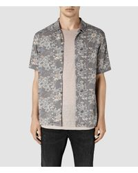 AllSaints | Black Hydrangea Short Sleeve Shirt for Men | Lyst