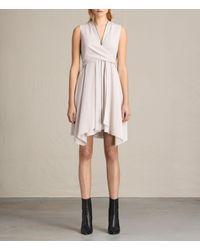 AllSaints | Pink Jayda Silk Dress | Lyst