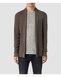 Allsaints Mode Merino Open Cardigan in Brown for Men | Lyst