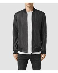 AllSaints | Black Mower Leather Bomber Jacket for Men | Lyst
