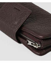 AllSaints - Purple Paradise Japanese Leather Wallet - Lyst