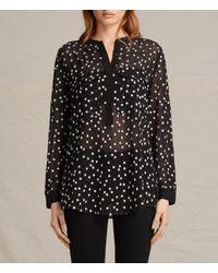 AllSaints | Black Picolina Embroidered Shirt Usa Usa | Lyst