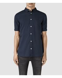 AllSaints | Blue Redondo Half Sleeved Shirt Usa Usa for Men | Lyst