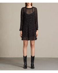 AllSaints | Black Liza Lace Dress | Lyst