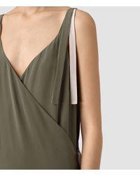 AllSaints - Green Vea Silk Dress - Lyst