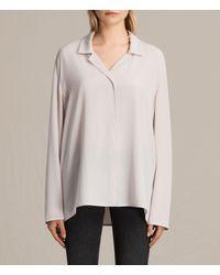 AllSaints | Pink Via Silk Shirt | Lyst