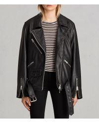 AllSaints - Black Oversized Leather Biker Jacket Usa Usa - Lyst
