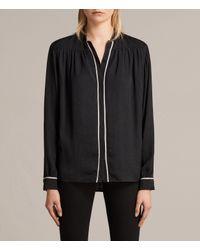 AllSaints - Black Rica Shirt - Lyst