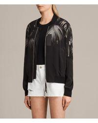 AllSaints - Black Harlow Neluwa Silk Bomber Jacket - Lyst