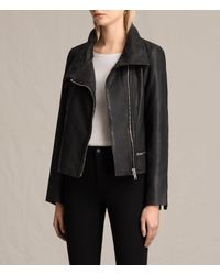AllSaints - Black Bales Leather Biker Jacket - Lyst